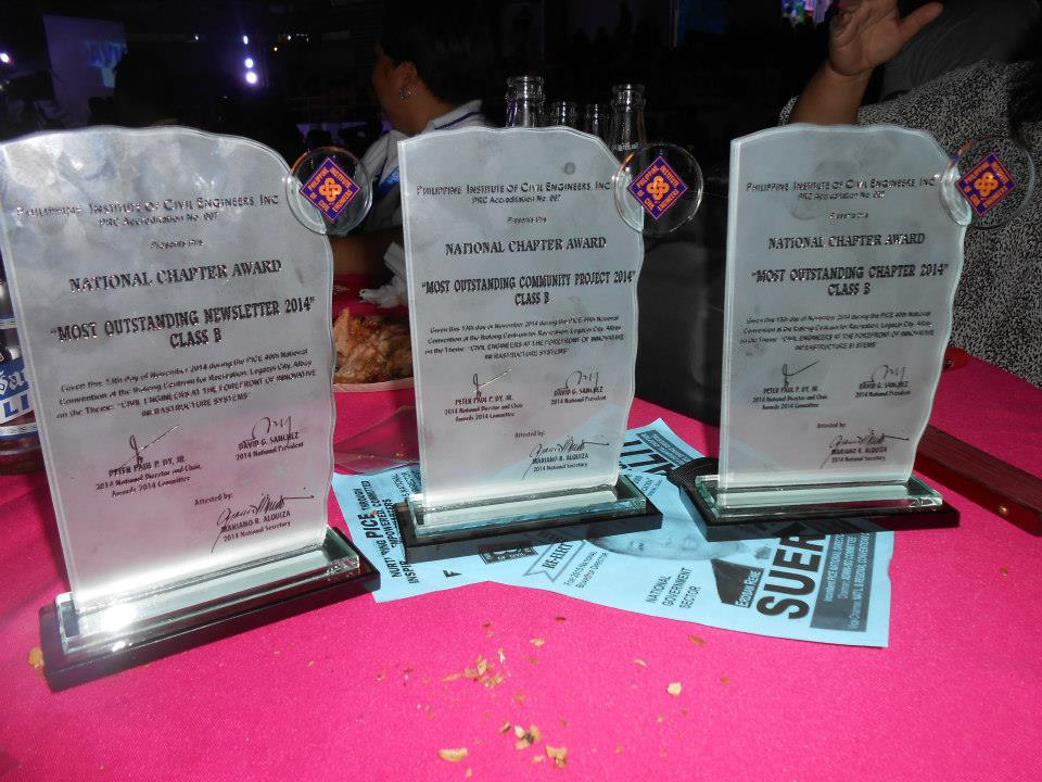 National Chapter Awards (2014) : Most Outstanding Chapter, Most Outstanding Community Award and Most Outstanding Newsletter Award